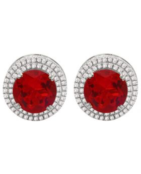10K White Gold Cluster Royal Red Lab Ruby Genuine Diamond Earring 1.20ct