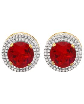 10K Yellow Gold Cluster Royal Red Lab Ruby Genuine Diamond Earring 1.20ct