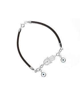 Hamsa Evil Eye Bracelet With Leather Cord (0.25 ct)
