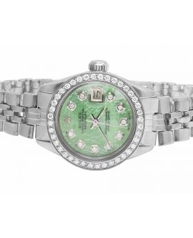 Ladies Rolex Datejust 6917 Green MOP Dial Stainless Steel Diamond Watch (2.0 Ct)