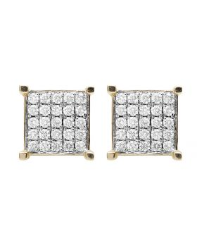 Ladies 10K Yellow Gold Square Real Diamond Stud Earring 1.35ct