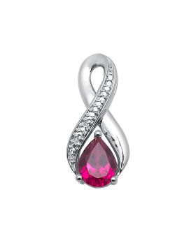 Infinity Lab Ruby Pendant in White Gold Finish (0.02ct)