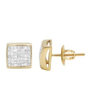 14K Yellow Gold Princess Real Diamond Square Stud Earrings 0.65ct 7MM