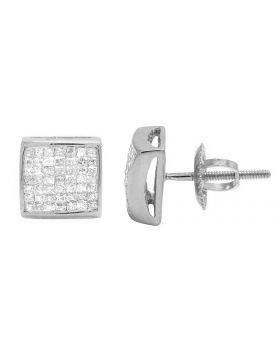 14K White Gold Princess Real Diamond Square Stud Earrings 0.65ct 7MM