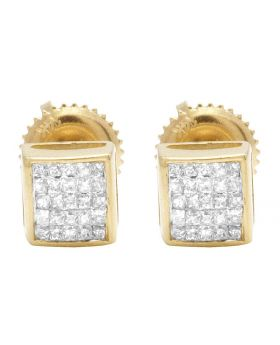 14K Yellow Gold Real Diamond Princess Square Studs .33ct 5MM