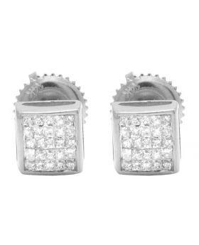 14K White Gold Real Diamond Princess Square Studs .33ct 5MM
