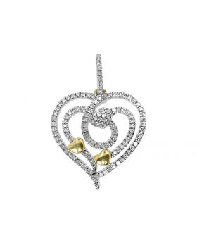 Hearts within Heart Diamond Pendant in 14k Yellow Gold (0.50 ct)