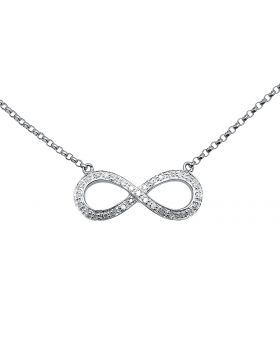 Ladies Infinity Love Sideway 10k White Gold Diamonds Necklace 16in .25ct