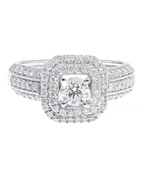 Round Solitaire Diamond Octagonal Frame Engagement Ring (1.04 ct)
