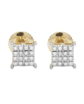 10K Yellow Gold Real Diamond Square Kite Stud Earrings .20ct 6mm