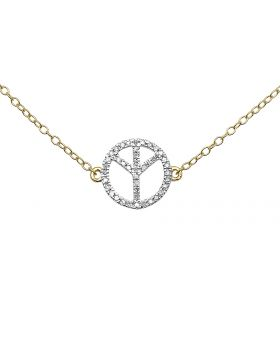 Ladies Peace Sign Round Diamonds 14k Yellow Gold Pendant Necklace 18in .12ct
