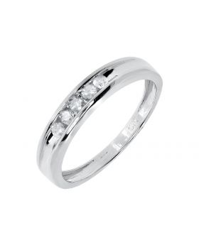 Channel Set Round Diamond Wedding Band Ring in Sterling Silver (0.25ct)