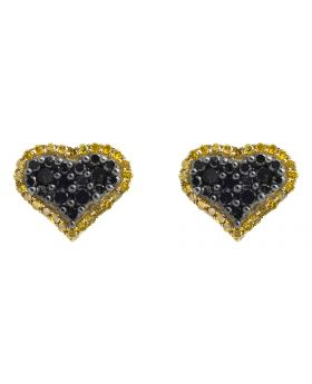 10K Yellow Gold Heart Black and Canary Diamond Stud Earrings (0.65ct.)