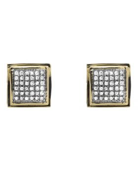 10K Yellow Gold Dome Square Kite Diamond Stud Earrings (0.25ct.)