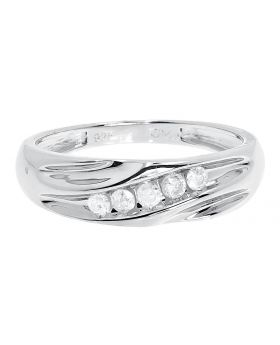 Diagonal Round Diamond Wedding Band Ring in Sterling Silver (0.25ct)