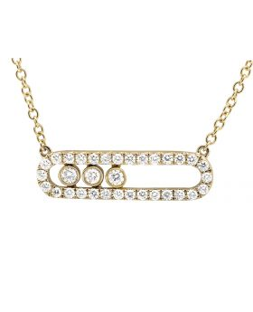 18K Yellow Gold Three Stone Bar Floating Diamond Pendant with Chain (1.0ct.)
