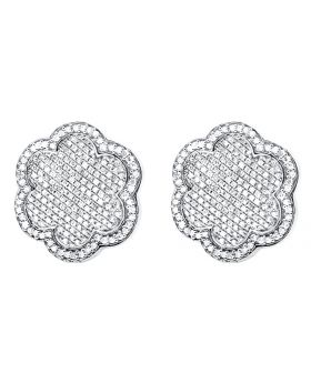 Unisex 10K White Gold Genuine Diamonds Flower Cluster Earrings Studs 1.15ctw