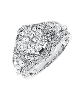 14k White Gold Round Diamond Cluster Engagement Wedding Ring (2 ct)