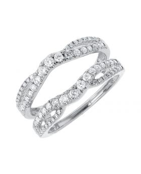 Engagement Ring Enhancer/Jacket in White Gold Round Diamonds (0.63 ct)
