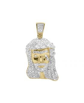 "1"" Jesus Pendant in Yellow Gold Finish (0.40 ct)"