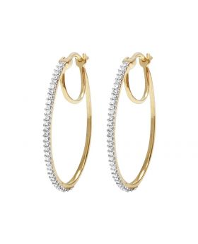 10K Yellow Gold Real Diamond Hoops Earrings .33Ct 1MM