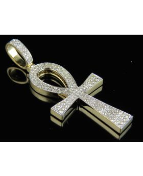 10K Yellow Gold Solid Egyptian Ankh Cross Diamond Pendant 1.40 Ct