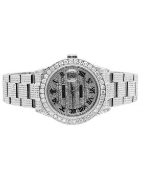 Rolex Datejust Stainless Oyster Perpetual Iced Out Full Diamond Watch 10.0 Ct