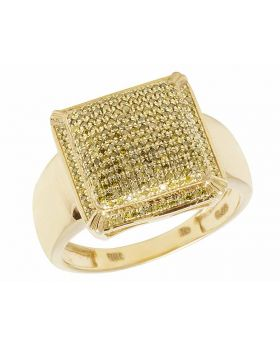 Men's 10K Yellow Gold Real Diamond Canary Square Pinky Ring 1/2 CT 15MM