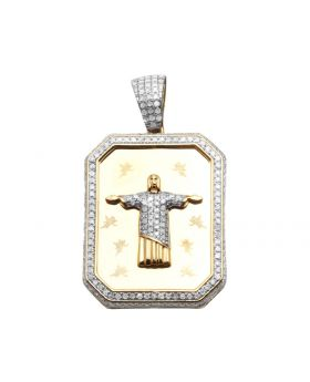 10K Yellow Gold Dog Tag Jesus Christ The Redeemer Charm Pendant 1 ct