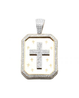 10K Yellow Gold Genuine Diamond Cross Dog Tag Charm Pendant 1.1ct