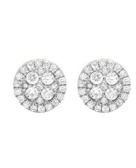 10K Yellow Gold Real Diamond Round Earring Studs .60ct 8MM