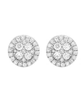 10K White Gold Real Diamond Round Earring Studs .60ct 8MM