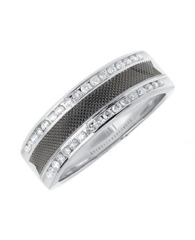 Wedding Band For Men with Carbon Fiber Center and Diamond Edges (0.48 ct)