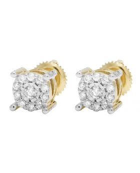 10K Yellow Gold Real Diamond Round Prong Stud Earrings .40CT 7MM