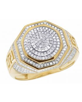 10K Yellow Gold Real Diamond Octagon 3D Real Diamond Ring 1/2 CT 16MM
