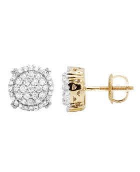 10K Yellow Gold Real Diamond Round Prong Stud Earrings .65CT 9MM