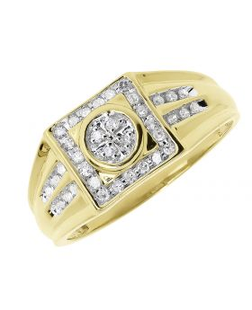 10k Gold Square Top Diamond Wedding Ring (0.25 ct)