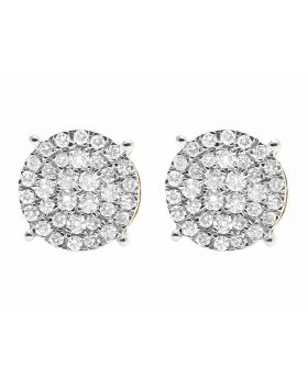 10K Yellow Gold Round Pave Diamond Studs Earrings 0.77ct 9MM