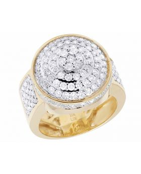 Men's 10K Yellow Gold Real Diamond Round 3D Pinky Ring 2 1/6 CT 20MM