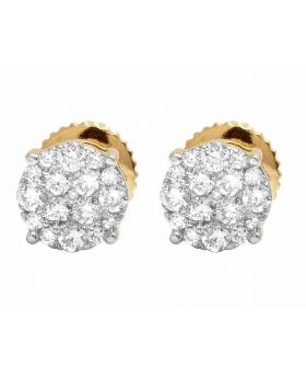 10K Yellow Gold Round Pave Diamond Studs Earrings 0.40ct 6MM
