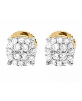 Ladies 10K Yellow Gold Round Pave Diamond Studs Earrings 0.40ct 6MM