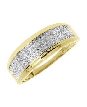 10k Yellow Gold Mens 8mm Pave Diamond Band (0.25 ct)