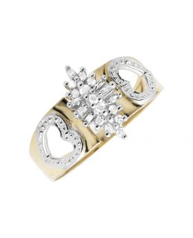 10K Yellow Gold Marquise Cluster Heart Diamond Engagement Ring 0.25ct.