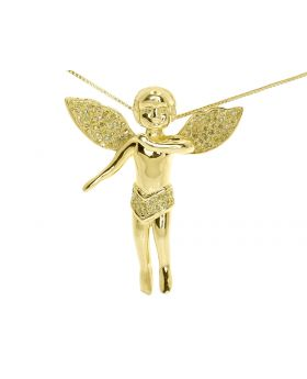 Angel Cherub Pendant in Yellow Silver with Canary Diamonds (0.50 ct)