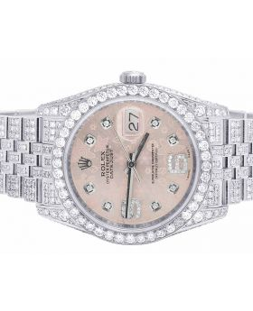 Rolex Datejust 116200 Pink Floral Dial Diamond Watch (13.5 Ct)