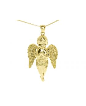 Yellow Gold Finish Praying Hands Diamond Angel Pendant (0.40 ct)