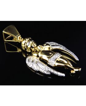 "Large Ascending Winged Angel Pendant in Yellow Gold Finish 2"" (0.40 ct)"