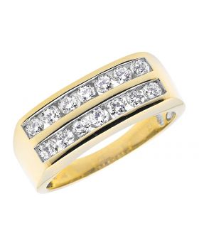 Channel Diamond Mens Band in 14K Yellow Gold (1.00 ct)