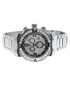Aqua Master Mens 45mm White Diamond W#146 Chronograph Swiss Watch 4.5 ct