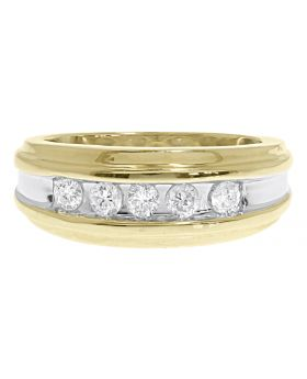Two Tone Mens Five Stone Diamond Ring in 14k Gold (0.50 ct)